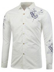 Turn Down Collar Floral Shirt - Blanc