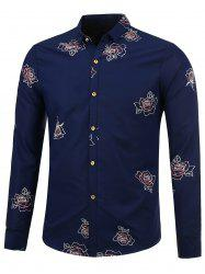 Turn Down Collar Flower Long Sleeve Shirt