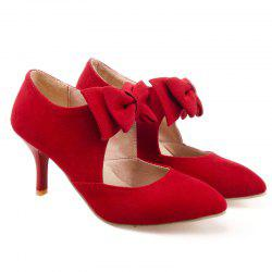 Bowknot Pointed Toe Suede Pumps - RED