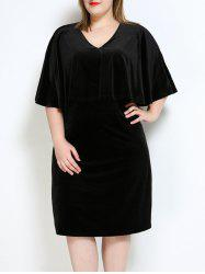 Velvet Plus Size Cape Dress