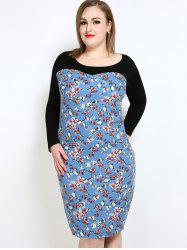 Floral Long Sleeve Plus Size Fitted Dress