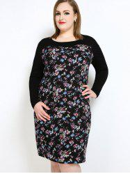 Floral Long Sleeve Plus Size Dress