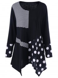 Plus Size Polka Dot Panel Asymmetrical T-Shirt