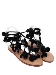 Pompon Lace Up Tassels Sandals