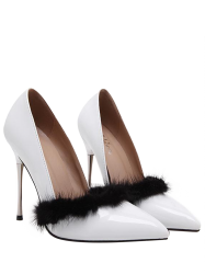 Pointed Toe Faux Fur Pumps