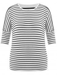 Stripe Batwing Sleeve Plus Size Top