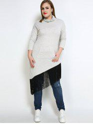 High Neck Fringe Plus Size Sweatshirt