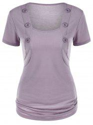 Square Neck T-Shirt with Button