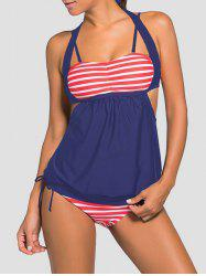 Striped Blouson Backless Tankini