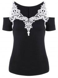 Cold Shoulder Crochet Trim T-Shirt -