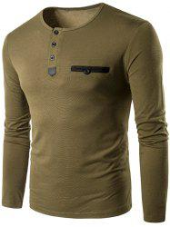 Crew Neck Buttons Edging Long Sleeve T-Shirt