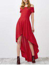 Off Shoulder High Low Prom Formal Party Dress