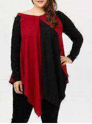 Long Sleeve Color Block Asymmetrical Plus Size Top