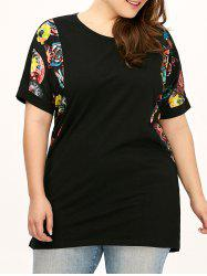 Plus Size Printed Long Tee