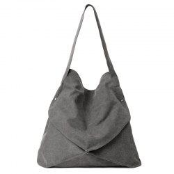Casual Slouch Canvas Shoulder Bag - GRAY