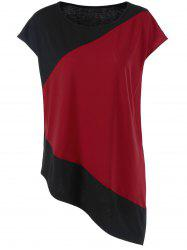 Plus Size Cap Sleeve Asymmetrical Longline T-Shirt