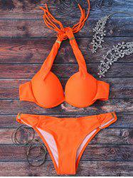 Stylish Halterneck Push Up Women's Bikini Set