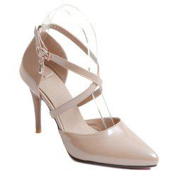 Stiletto Heel Cross Strap Pumps - APRICOT