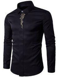 Turndown Collar Embroidered Long Sleeve Shirt