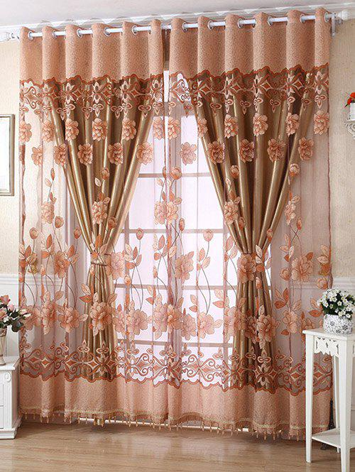 1Pcs Grommet Roller Floral Window TulleHOME<br><br>Size: 100*250CM; Color: LIGHT COFFEE; Applicable Window Type: French Window; Function: Translucidus (Shading Rate 1%-40%); Installation Type: Exterior Installation; Location: Living Room,Window; Material: Voile Curtain; Opening and Closing Method: Left and Right Biparting Open; Pattern Type: Floral; Processing Accessories Cost: Excluded; Style: Europe; Technics: Woven; Type: Tulle; Use: Cafe,Home,Hotel,Office; Weight: 0.3240kg; Package Contents: 1 x Window Tulle (Without Blackout Curtain );