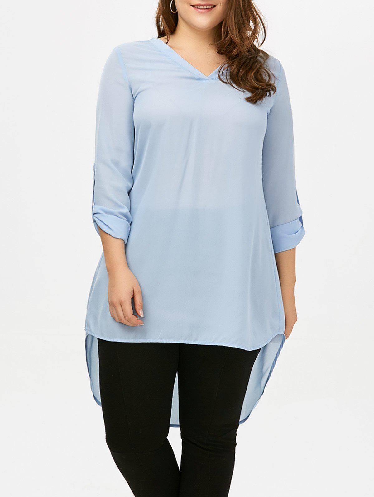 7c24d4f78aed29 Affordable V Neck High Low Plus Size Top