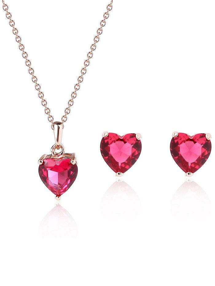 Latest Artificial Ruby Heart Pendant Necklace and Earrings