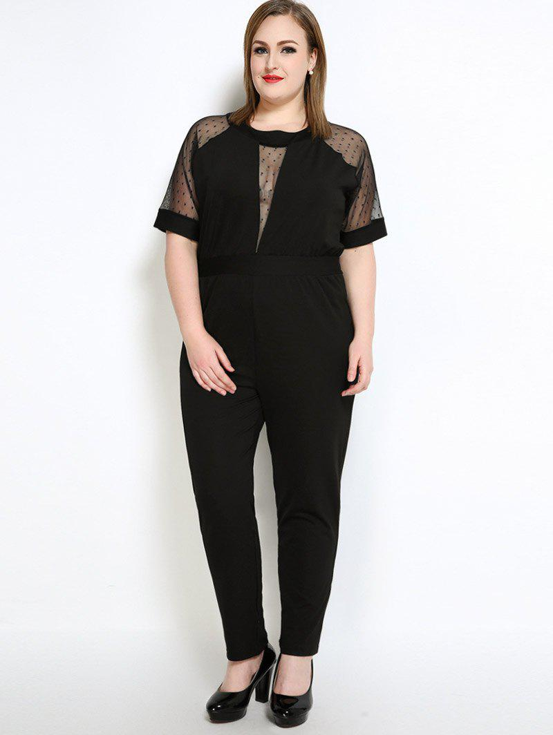 Affordable Mesh Insert Polka Dot Plus Size Jumpsuit