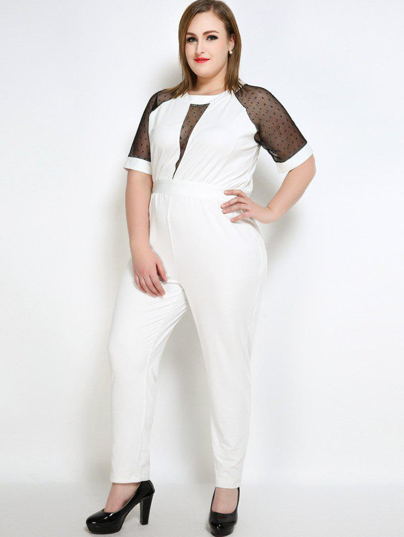 Chic Mesh Insert Polka Dot Plus Size Jumpsuit