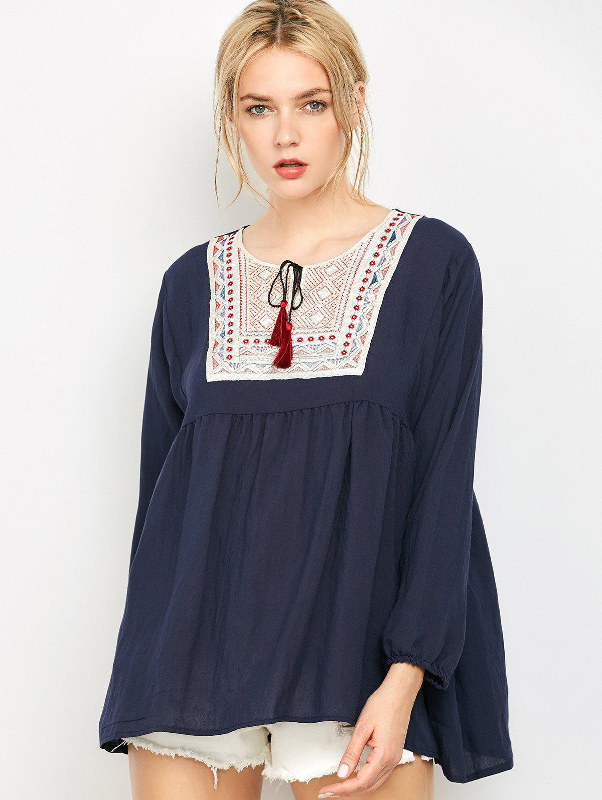 Affordable Ruched Embroidered Loose Blouse
