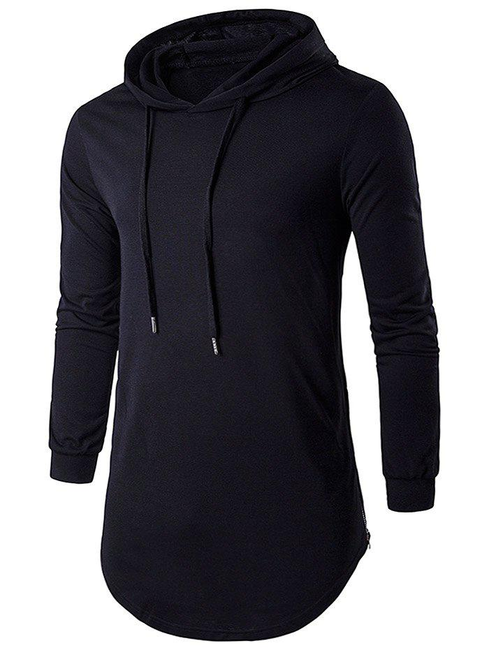 Hooded Drawstring Long Hip Hop T-ShirtMEN<br><br>Size: XL; Color: BLACK; Material: Cotton,Polyester; Sleeve Length: Full; Collar: Hooded; Style: Fashion; Pattern Type: Solid; Weight: 0.3265kg; Package Contents: 1 x T-Shirt;