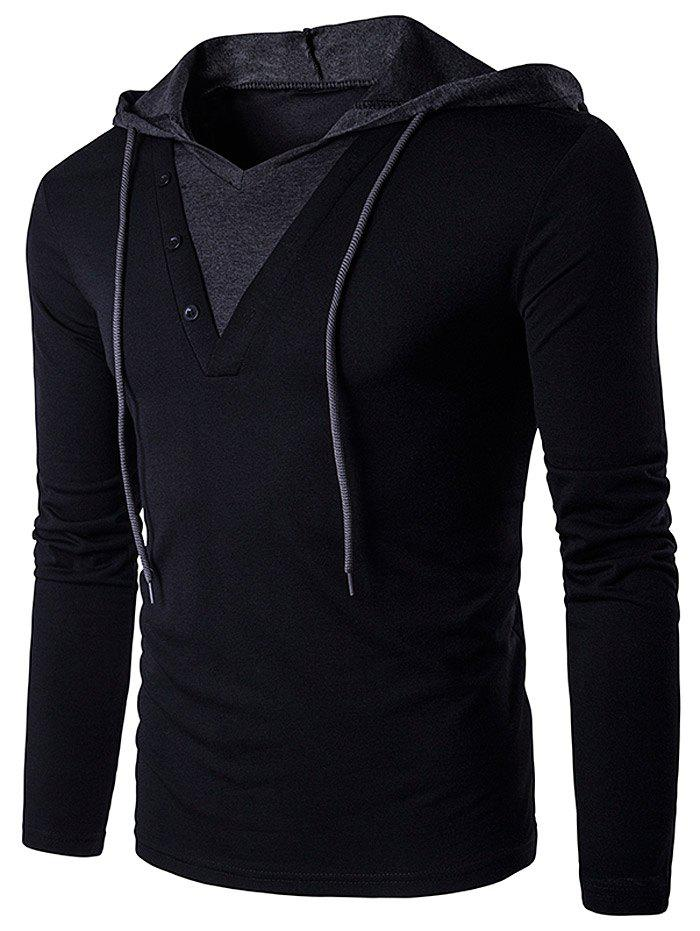 Color Block Panel Hooded Long Sleeve T-ShirtMEN<br><br>Size: M; Color: BLACK; Material: Cotton,Polyester; Sleeve Length: Full; Collar: Hooded; Style: Fashion; Weight: 0.3280kg; Package Contents: 1 x T-Shirt;