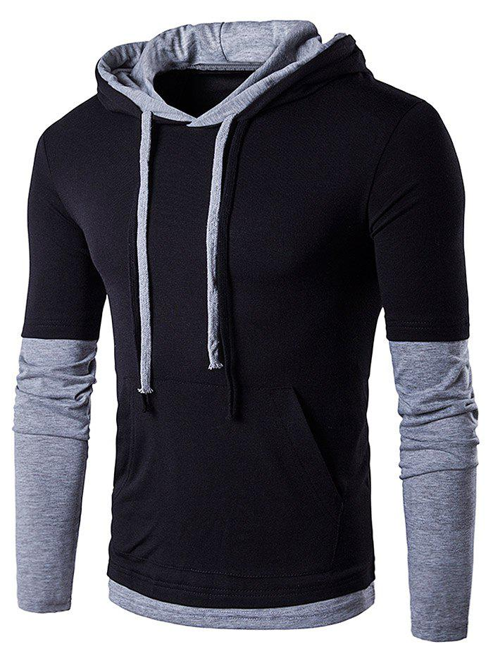 Panel Faux Twinset Hooded Drawstring T-ShirtMEN<br><br>Size: L; Color: BLACK; Material: Cotton,Polyester; Sleeve Length: Full; Collar: Hooded; Style: Fashion; Weight: 0.3360kg; Package Contents: 1 x T-Shirt;