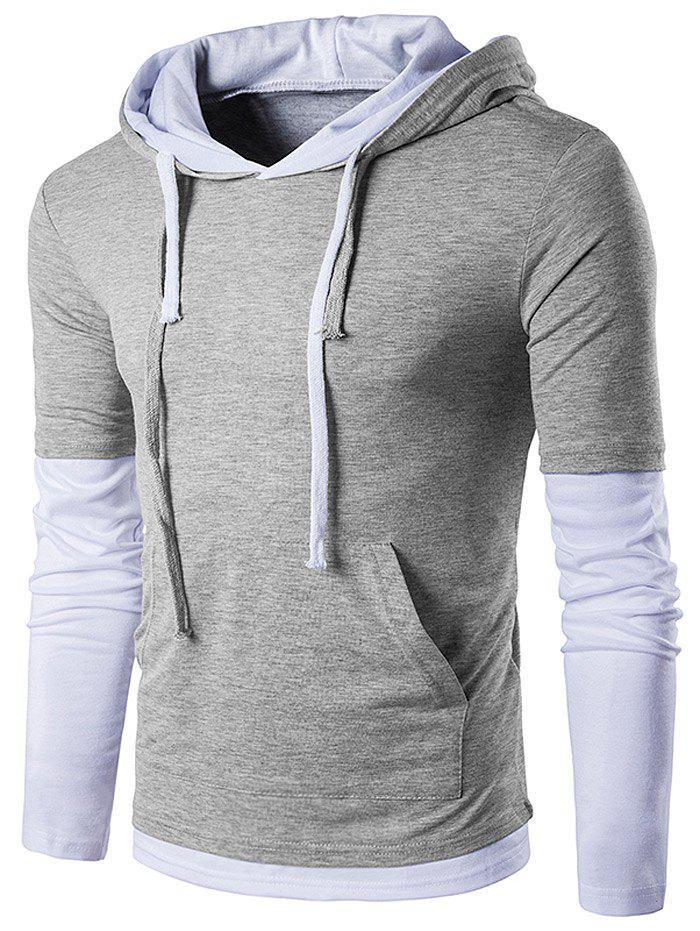 babd893aa 44% OFF] Panel Faux Twinset Hooded Drawstring T-Shirt | Rosegal