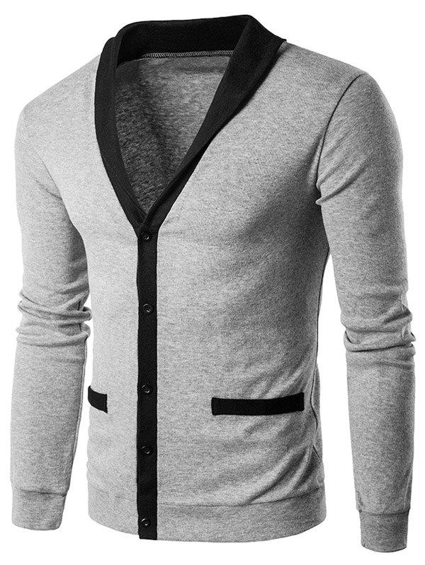 V Neck Single Breasted Knit Blends CardiganMEN<br><br>Size: M; Color: LIGHT GRAY; Type: Cardigans; Material: Cotton,Polyester; Sleeve Length: Full; Collar: V-Neck; Style: Fashion; Weight: 0.3710kg; Package Contents: 1 x Cardigan;