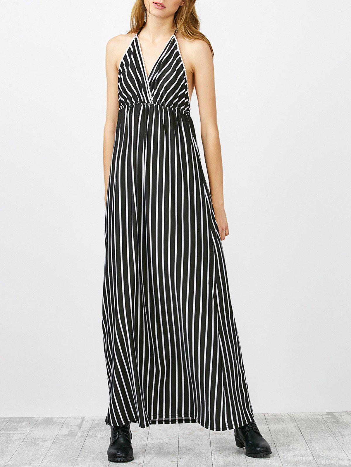 Online Halter Striped Long Backless Casual Dress