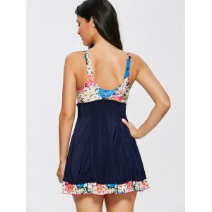 Floral Knot Skirted One Piece Swimsuit - COLORMIX XL