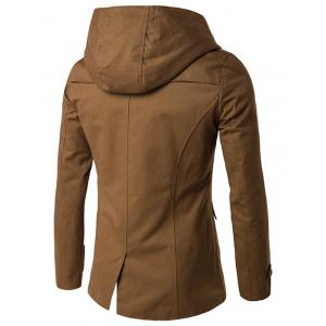 Double Breasted Hooded Caban - Camel 2XL