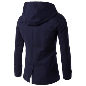 Double Breasted Hooded Caban - Bleu Cadette XL