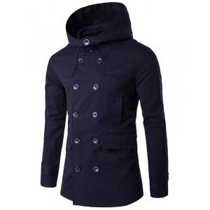 Double Breasted Hooded Pea Coat -