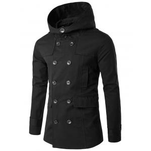 Black L Double Breasted Hooded Pea Coat | RoseGal.com