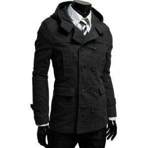 Double Breasted Hooded Pea Coat - Black - L
