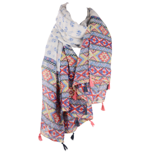 Indian Elephants Geometry Print Tassels Pendant Pashmina Scarf - Red - One Size