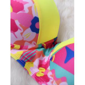 Colorblock Push Up Bandeau Bikini - YELLOW M