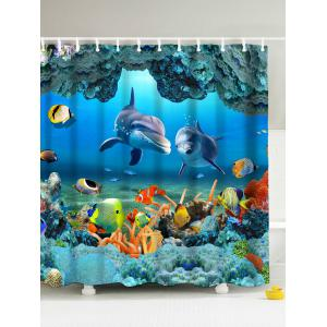 3D Underwater World Fish Shower Curtain with Hooks