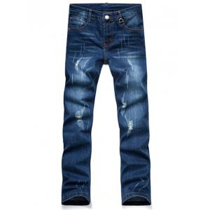 Distressed Slim Fit Straight Leg Jeans