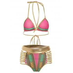 Halter Cut Out Graphic Bikini Set