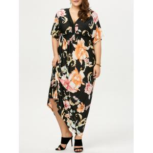 Plus Size Dolman Sleeve Floral Print Bohemian Dress - Black - 5xl