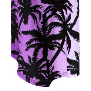 Plus Size Plant Print Ombre Asymmetrical T-Shirt - BLACK/PURPLE 5XL
