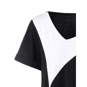 Plus Size Long Cuffed Sleeve Asymmetrical T-Shirt - WHITE AND BLACK 2XL