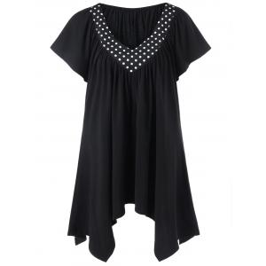 Polka Dot Trim Plus Size Longline T-Shirt - Black - 2xl